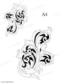 Leathercraft tooling pattern Scroll 002 – Your . Leather Carving, Leather Art, Leather Design, Leather Tooling, Hai Tattoos, Filigree Tattoo, Leather Working Patterns, Wood Burning Patterns, Scroll Pattern