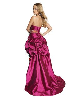 Mori Lee Paparazzi 91037 Strapless Pick-Up High Low Prom Dress