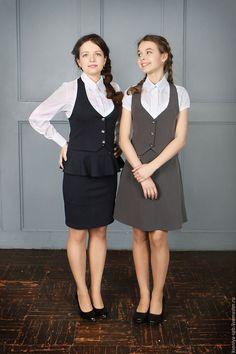 Для подростков, ручной работы. Ярмарка Мастеров - ручная работа. Купить Школьная форма для девочки комплект жилетка + юбка. Handmade.