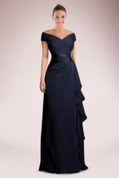 Imposing Off-the-shoulder Mother of Bride Dress Accented with Beaded Motifs and Feminine Ruffles