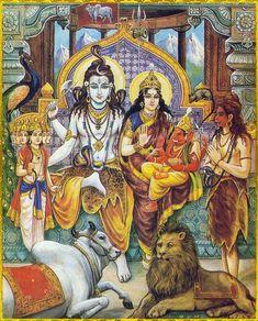 Shiv Parvati Parivaar With Ganapati and Kartikeya जय शिव परिवार शिव पार्वती कार्तिकेय और गणेश Shiva Parvati Images, Mahakal Shiva, Shiva Art, Shiva Statue, Krishna Art, Hindu Art, Hare Krishna, Saraswati Goddess, Kali Goddess