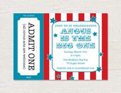 Circus Birthday Party Invitation  Printable by lilybeedesigns, $15.00