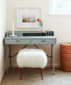 Powder blue desk with furry stool. Photography by Sean Dagen. Design by Serena Armstrong. Home Office Design, Home Office Decor, House Design, Office Den, Desk Office, Old Chairs, Cafe Chairs, Desk Chairs, Desk Stool