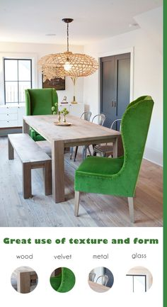 LOVE THIS!!  Emerald green wingback chairs in a modern rustic dining room - great mix of forms and textures #emerald #diningroom