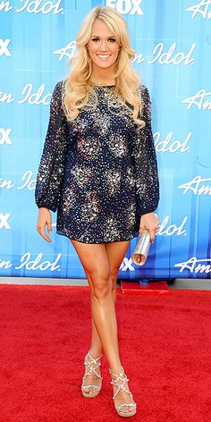 CARRIE UNDERWOOD - wearing a Badgley Mischka mini with embellished sandals, a silvery clutch (both by Jimmy Choo)