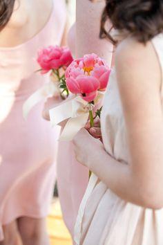 a single peony + ribbon bouquet {Picotte Weddings}