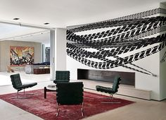 Guilherme Torres. Home. Interior Design. Fireplace. Statement Wall. Black and White. Art. Modern. Contemporary. Rug. Brazil.