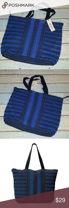"""Roxy Local Spot Beach Tote The perfect beach tote for hitting the sand and watching the surf come up in style Straw textile material Twin carry handles Zippered main compartment with tassel detail Interior organization 20.5""""Lx3.5""""Wx15""""H Roxy Bags Totes"""