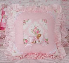 Vintage Barkcloth and Pink Cameo Rose Pillow by Shabby Boutique, via Flickr