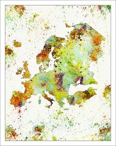 Europe Map, Map Art, Vintage Map, Watercolor Map, Map Prints, World Map Poster, Europe Watercolor Map    USE THE ZOOM FEATURE TO LOOK AT THE