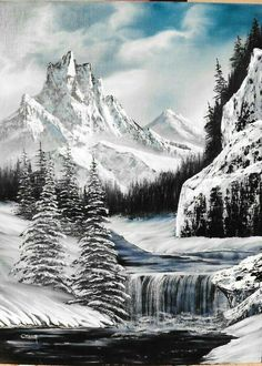 Beautiful black and white painting . Abstract Landscape, Fantasy Landscape, Landscape Paintings, Winter Landscape, Acrylic Paintings, Christmas Landscape, Painting Snow, Winter Painting, Mountain Drawing