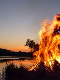 A Sankt Hans Aften Fire - Danish tradition at summer solstice This evening! The tradition was to burn a witch on the fire.