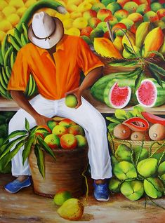 Caribbean Art Print featuring the painting Manuel The Caribbean Fruit Vendor by Dominica Alcantara Arte Latina, Jamaican Art, Haitian Art, Cuban Art, Caribbean Art, Fruit Painting, Tropical Art, Arte Pop, African American Art