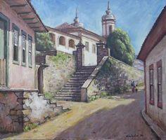 Quadro Pintura Óleo S/ Tela Ouro Preto 38x44cm Frete Grátis - R$ 400,00 em Mercado Livre