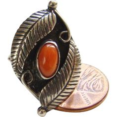 Vintage Navajo Red Coral Ring Size 5 to 5.25 Sterling Silver Feathers Native American