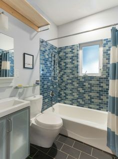 I Love These Turquoise Tiles Halfway Up The Bathroom Wall