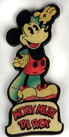 Vintage Disney 1930s Mickey Mouse Figural Wooden Tie Rack