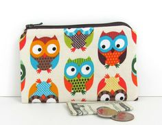 Owls Coin Purse / Kid's Zipper Pouch  small by OvationStudio, $8.00