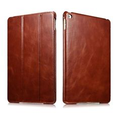 ICARER for iPad Air 2 Vintage Tri-fold Stand Genuine Leather Shell