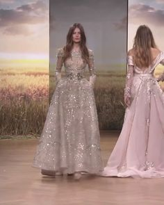 Beautiful Embroidered Beige A-Lane Evening Maxi Dress / Evening Gown with Long Sleeves. Spring Summer 2018 Haute Couture Collection. Runway Show by Ziad Nakad
