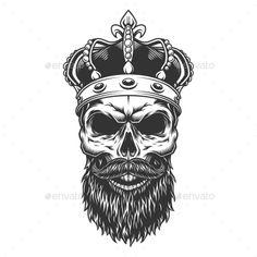 Buy Skull with Beard in the Crown by imogi on GraphicRiver. Skull with beard in the crown. Beard Logo, Beard Tattoo, Skull Hand Tattoo, Skull Tattoos, Coroa Tattoo, Skull With Crown, Person Cartoon, Totenkopf Tattoos, Gorilla Tattoo