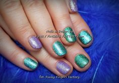 Shellac and Gelish glitter nails. Please credit funkyfingersfactory.com