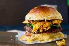 Frito Pie Burger on Jalapeño Cheddar Buns by foodiebride