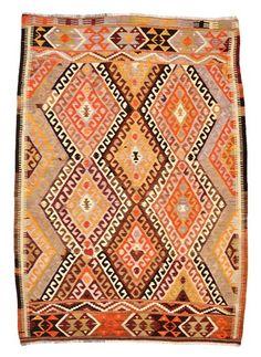 Vintage Barak Kilim Rug around 50 years old.