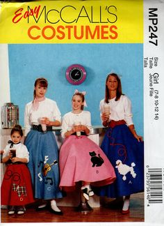 Poodle Skirt Pull On Circular And Petticoat McCalls Toddler Size 6 Easy To Sew Costume Sewing Pattern Uncut