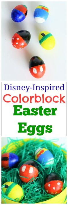 Disney-Inspired Colorblock Easter Eggs - Minnie, Mickey, Goofy, Donald, and Pluto painted Easter Eggs Pebble Painting, Pebble Art, Rock Painting, Easter Crafts, Holiday Crafts, Easter Ideas, Disney Easter Eggs, Easter Party, Easter 2018