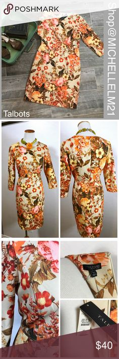 Talbots's Petite Floral Printed Dress Talbot's petite 6 floral and fauna print dress. NWT full retail at $189. Colors cream, orange, pink, yellow and brown. Details include full back zipper with hook and eye, bottom kick pleat. #01247 bundle in my closet and save. I ship fast! Measurements: 19 inches across bust. 27 inches from underarm to bottom hem. shoulder to bottom hem of dress 36 1/2 inches. Sleeves measure 18 inches from shoulder to bottom.  From waist. to bottom hem of skirt 21 1/2…
