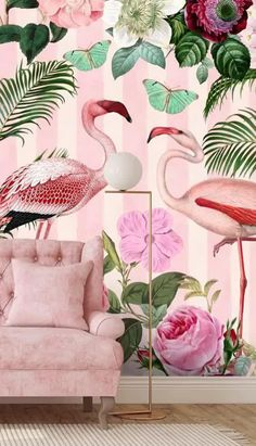 From pretty pink striped prints to flamboyant flamingos, this pink jungle wallpaper is the perfect addition to any living room! Do you love a pink colour scheme? Then take a look at these pink interior ideas. From luxury pink chesterfield sofas with gold accent lamps to simple Scandi style furniture for a more minimalist look, this pink flamingo wallpaper is so versatile! #pinkwallpaper #pinkdecor