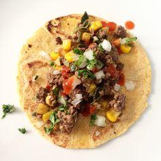 picadillo de bison, cilantro onion, salsa roja, homemade corn tortillas #tacotuesday