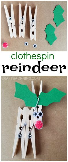 Cute little clothespin reindeer craft for the kids to make this Christmas!