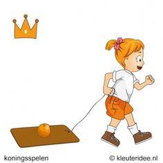 Een sinaasappel ligt op een stuk karton met een koord er aan. De kleuters moeten proberen het karton aan het koord vooruit te trekken, zonder dat de sinaasappel er af rolt. Als dit gebeurt mag het kind nog één keer overnieuw beginnen. Dit spel hoeft niet tegen elkaar gespeeld te worden. Het gaat om de behendigheid.