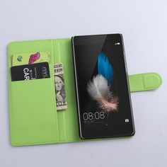New Luxury Original PU Leather Flip Case Cover For Huawei P8 Lite Case Cell Phone Shell Back Cover With Card Holder & Gift Black