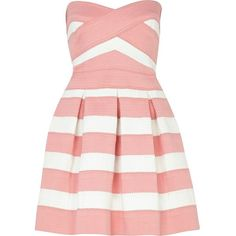 River Island Pink and white bandage box pleat prom dress ($43) ❤ liked on Polyvore featuring dresses, vestidos, short dresses, pink, sale, sweetheart cocktail dress, pink dress, short cocktail dresses, holiday cocktail dresses and cocktail mini dress