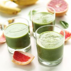 A simple, refreshing green smoothie with the tartness of grapefruit and sweetness of banana and apple. The perfect, healthy start to your day.