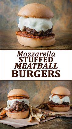 Mozzarella Stuffed Meatball Burgers