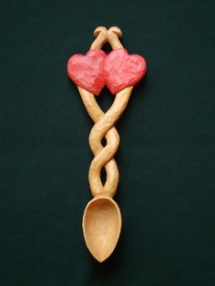 Wood Carving, Two Hearts Lovespoon, OOAK Woodcarving, Collectable Gift, Wedding Gift. Hand Carved and Painted.