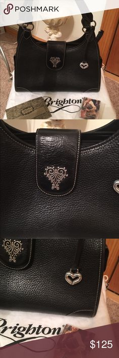 Authentic Brighton black handbag This bag is with 9 inch strap drop vintage in near mint condition only has wear on the Brighton heart comes with cards dust bag and box gorgeous bag❤💼 Brighton Bags Shoulder Bags Brighton Handbags, Brighton Bags, Michael Kors Hamilton, Black Handbags, Fashion Design, Fashion Tips, Fashion Trends, Black Silver, Shoulder Bags