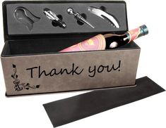 Complete your gift with this customized leatherette wine package, the perfect compliment to the vintage bottle of wine. Leatherette Wine Box with Tools. Personalized Christmas Gifts, Personalized Wedding Gifts, Wine Packaging, Champagne Bottles, Leather Journal, Graduation Gifts, Laser Engraving, Wine Bottle Stoppers, Gifts For Women