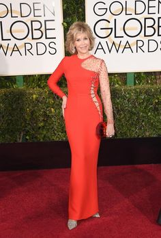 Actress Jane Fonda attends the Annual Golden Globe Awards at The Beverly Hilton Hotel on January 2015 in Beverly Hills, California. Get premium, high resolution news photos at Getty Images Golden Globes 2016, Golden Globe Award, Celebrity Red Carpet, Celebrity Style, London Film Festival, Valentino Couture, Christian Dior Couture, Calvin Klein Collection, Costume Institute