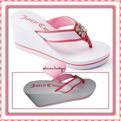 """{Juicy Couture} Pink/White Rhinestone Wedge Sandal HPNWT Juicy Couture pink/white rhinestone wedge sandals! Features stunning rhinestones, fabric strap & toe post give added comfort, padded footbed & outsole provide stability. Fabric upper/lining, EVA outsole, 3"""" heel, 0.38"""" platform S (5-6)M (7-8)L (9-10)XL (11)Size Down If 1/2 Size AVAILABLE:Gray/GreenPink/WhitePink/Black Sandals Please Don't Buy ListingComment & I'll Create Listing ✅Bundle Discounts✅Reasonable Offers✅Smoke-Free✅❌Trades❌…"""