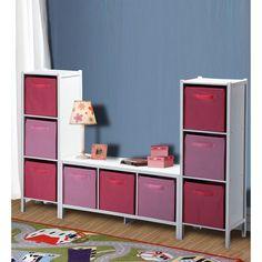 Badger Basket Three Bin Wide Storage In White With Pink