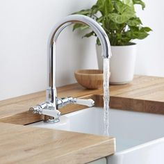 The Milano Victoria sink tap will add a traditional touch to any kitchen. The chrome finish blends in easily with any decor Kitchen Taps, Kitchen Decor, Traditional Kitchen Sinks, Commercial Plumbing, Water Spout, Sink Mixer Taps, Chrome Finish, Traditional Design, Bathroom Accessories