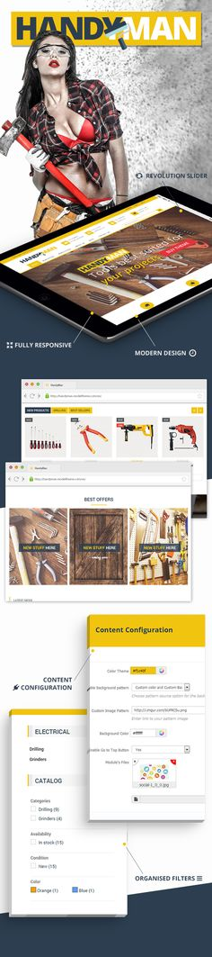 Buy Handyman - PrestaShop Business Construction Theme by modeltheme on ThemeForest. PrestaShop Business Construction Theme is a responsive theme based on Bootstrap. Wordpress Premium, Construction Theme, Colorful Backgrounds, Addiction, Social Media, App, Games, Business, Health