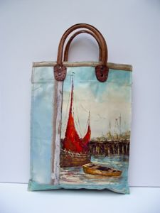 A series of unique, leather handled carry bags made by hand using vintage oil paintings sourced exclusively from markets in Holland and Belgium.  Each bag tells its own story through the juxtaposition of timeworn painted canvases, making each one a distinctive piece of functional, wearable art. This series of carry bags are strong, versatile and spacious, and are designed to show signs of wear with use & age so that their stories live on.    NEW SHOULDER BAG: bag fold to carry as shoulder…