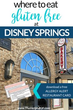 If you're gluten-free and traveling to Orlando, you must visit the large selection of restaurants at the wonderful and free Disney Springs (formally Downtown Disney) with gluten-free food and menus!  Click through for my top tips on gluten-free options for table service, snack credits, and desserts.  Plus, great dining options for kids. #disneyworld #disneysprings #disneyfood #disneyvacation