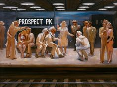 Irving Boyer, Prospect Park, ca. Oil on academy board. New-York Historical Society, Gift of Selwyn L. Boyer, from the Boyer Family Collection. Brooklyn New York, New York City, Nyc Art Museums, Prospect Park, Nyc Subway, Historical Society, World War Two, American Artists, Wwii